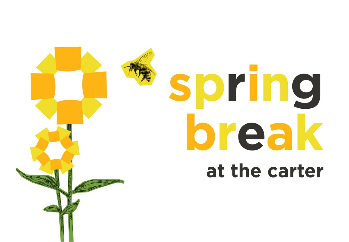 "Stylized yellow flowers next to text that says, ""Spring Break at the Carter"""