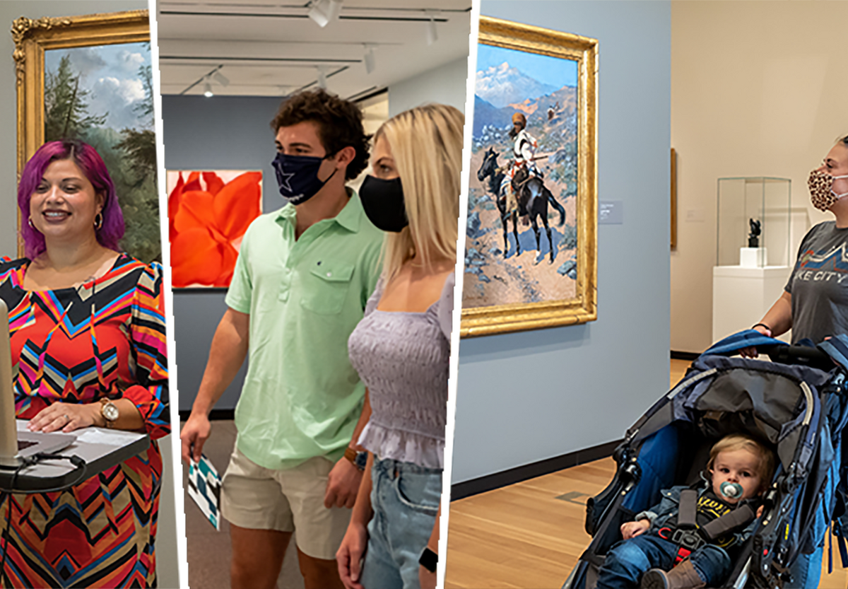 Graphic divided into three parts: far left shows a woman with purple hair standing behind a computer; in the middle, a couple wearing masks look at artwork in a gallery; on the far right, a woman pushing a baby in a stroller looks at artwork in a gallery